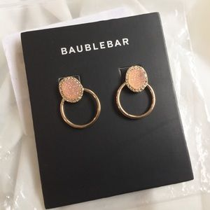BAUBLEBAR Blush Druzy Crystal Hoop Earrings